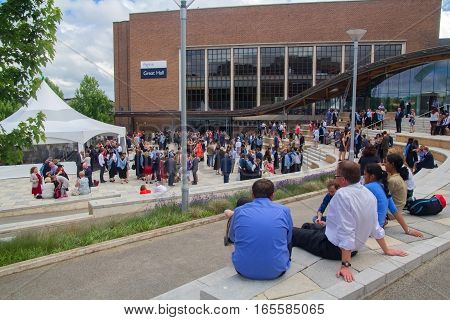 EXETER DEVON UK - July 11 2016: Students graduates from the University of Exeter. Celebration