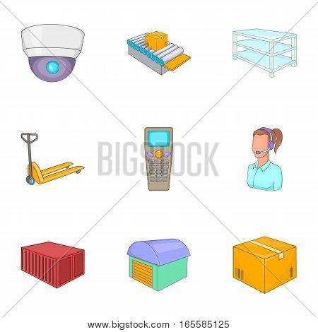 Shipping logistic icons set. Cartoon illustration of 9 shipping logistic vector icons for web