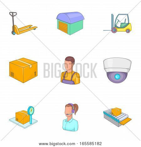 Service industry including delivery, moving, transportation icons set. Cartoon illustration of 9 service industry vector icons for web