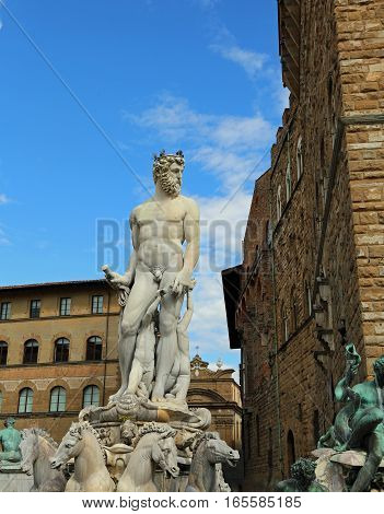 Florence White Statue Of Neptune In The Ancient Fountain I