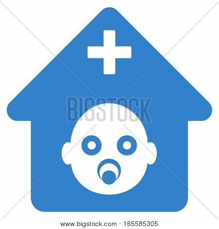 Prenatal Hospital vector icon. Flat cobalt symbol. Pictogram is isolated on a white background. Designed for web and software interfaces.