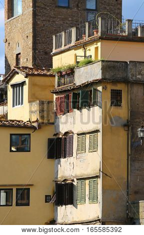 Florence Houses And Shops In The Ancient Bridge Called Ponte Vec
