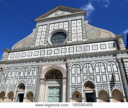 Florence Italy Decorated Facade Of Ancient Church