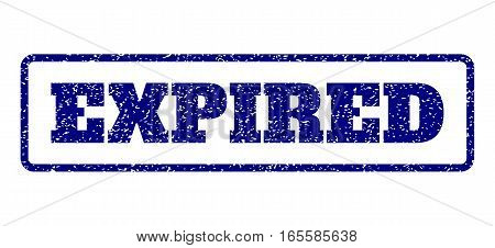 Navy Blue rubber seal stamp with Expired text. Vector tag inside rounded rectangular shape. Grunge design and unclean texture for watermark labels. Horisontal sign on a white background.