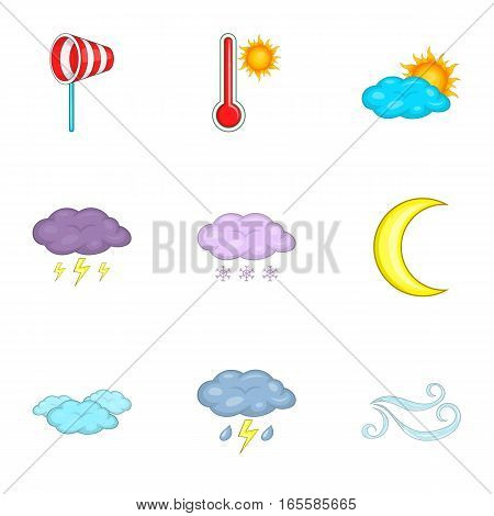 Meteorology template instruments for app and web icons set. Cartoon illustration of 9 vector icons for web