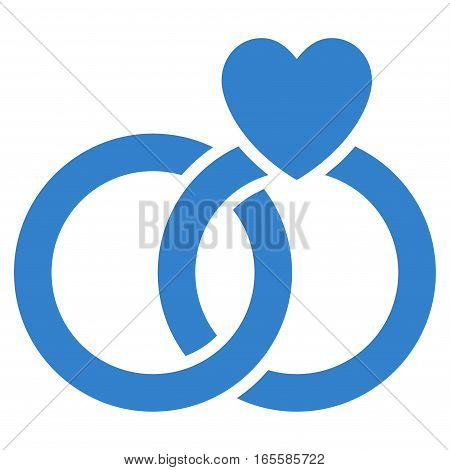 Wedding Rings vector icon. Flat cobalt symbol. Pictogram is isolated on a white background. Designed for web and software interfaces.