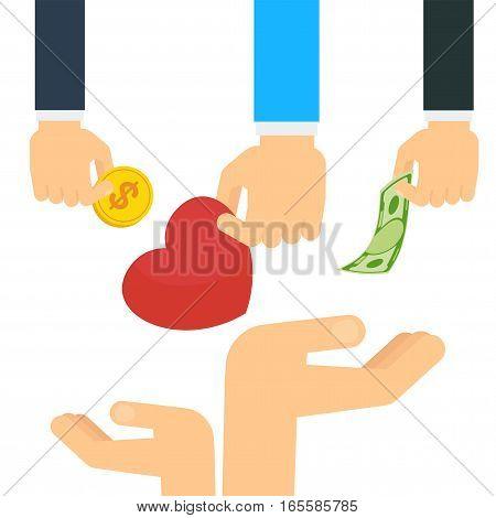 Hand Donate Heart