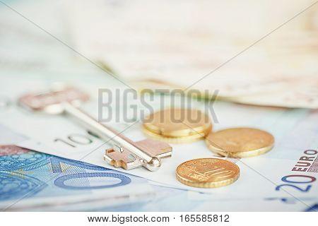 Euro money: closeup of banknotes and coins. Financial concept