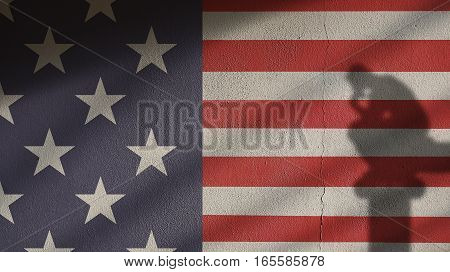 Usa Flag on Concrete with Thinker and Gate Shadow. Stars and Stripes