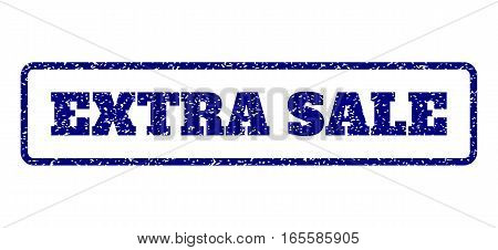 Navy Blue rubber seal stamp with Extra Sale text. Vector caption inside rounded rectangular frame. Grunge design and dust texture for watermark labels. Horisontal sign on a white background.