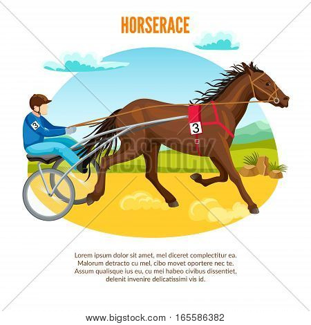 Equestrian sport cartoon template with jockey riding and training horse before competition vector illustration