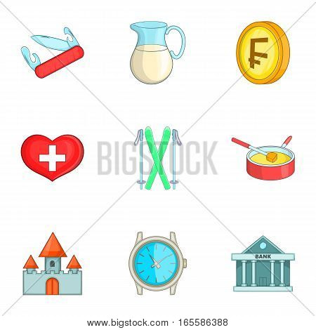 Switzerland icons set. Cartoon illustration of 9 Switzerland vector icons for web