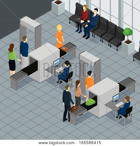 Isometric people in airport concept with passengers passing customs control before boarding vector illustration