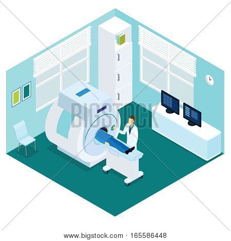 MRI diagnostic procedure isometric concept with doctor and patient in hospital room isolated vector illustration