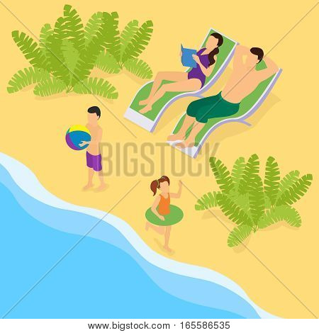 Isometric family on vacation template with lying on recliners parents and running near sea kids vector illustration