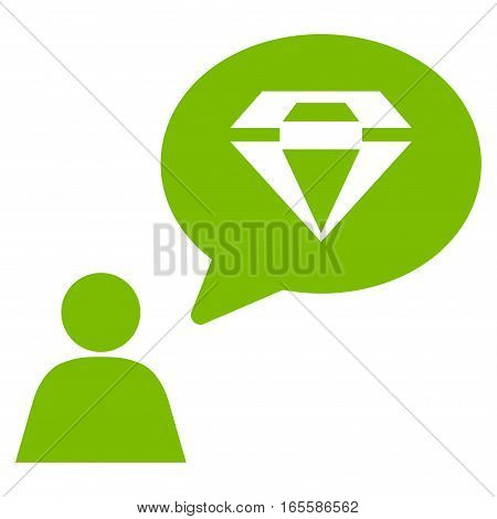 Diamond Thinking Person vector icon. Flat eco green symbol. Pictogram is isolated on a white background. Designed for web and software interfaces.