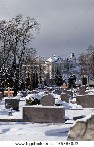 Totenberg cemetery and the Hellenstein castle in Heidenheim an der Brenz (Baden-Wurttemberg Germany) in winter.