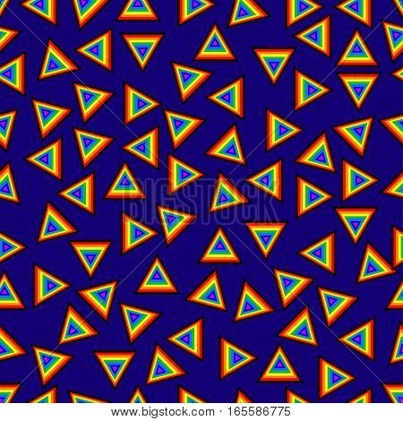 Seamless pattern geometric with triangles in mixed orders rainbow colored plus black vibrant blue background modern abstract artistic image