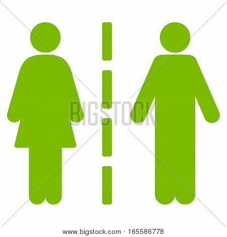 Divorce Line vector icon. Flat eco green symbol. Pictogram is isolated on a white background. Designed for web and software interfaces.