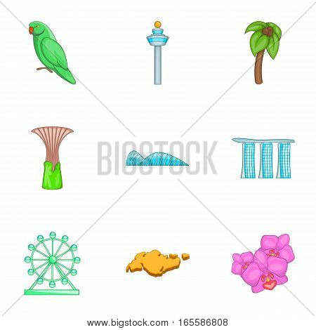 Singapore tourists attractions icons set. Cartoon illustration of 9 Singapore tourists attractions vector icons for web