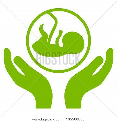 Embryo Care Hands vector icon. Flat eco green symbol. Pictogram is isolated on a white background. Designed for web and software interfaces.