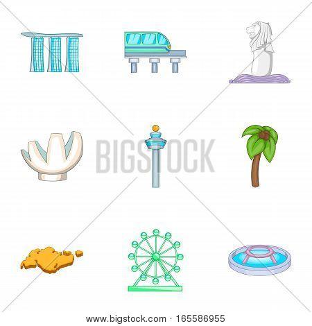 Singapore symbols icons set. Cartoon illustration of 9 Singapore symbols vector icons for web