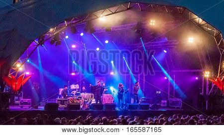 Bristol UK - July 16 2016: Band Sidestepper playing live at the annual Harbour Festival in Bristol UK