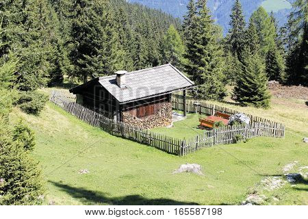 wooden hause in the mountain in summer