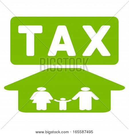 Family Tax Pressure vector icon. Flat eco green symbol. Pictogram is isolated on a white background. Designed for web and software interfaces.