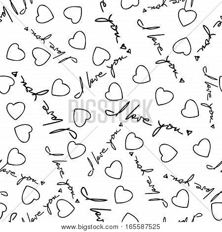 I love you phrase and hearts seamless pattern. Romantic quotes and symbols randomly placed on white background. Wrapping texture suitable for Valentine day greeting card or gift. Vector eps8.