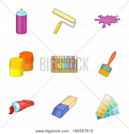 Tools for painting icons set. Cartoon illustration of 9 tools for painting vector icons for web