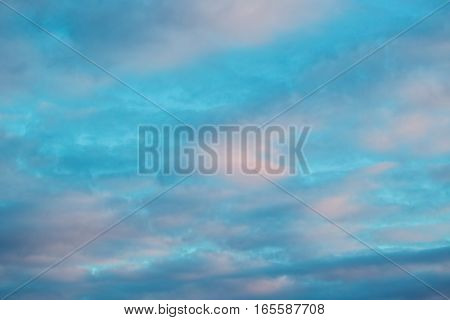 Beautifyl blue sky with clouds close up