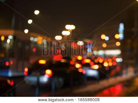 Night Road In The City, Cars Light In Traffic Jams, Defocused,