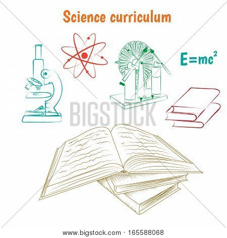 Science curriculum education concept vector illustration. Open book and school subjects icons on white background.