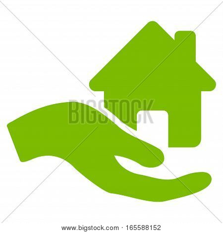 Home Offer Hand vector icon. Flat eco green symbol. Pictogram is isolated on a white background. Designed for web and software interfaces.