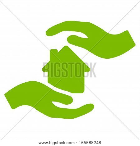 House Care Hands vector icon. Flat eco green symbol. Pictogram is isolated on a white background. Designed for web and software interfaces.
