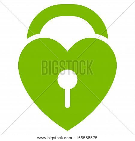Love Heart Lock vector icon. Flat eco green symbol. Pictogram is isolated on a white background. Designed for web and software interfaces.