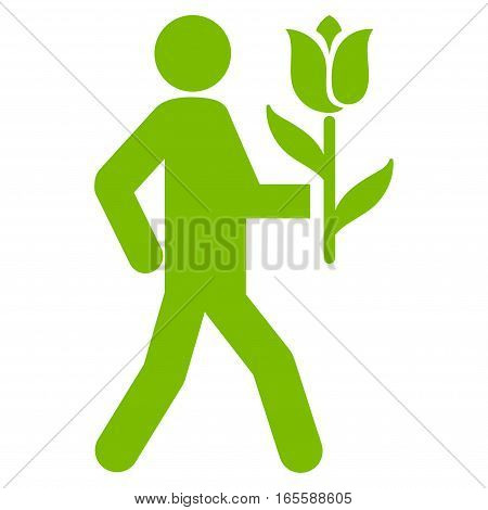 Lover With Flower vector icon. Flat eco green symbol. Pictogram is isolated on a white background. Designed for web and software interfaces.