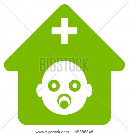 Prenatal Hospital vector icon. Flat eco green symbol. Pictogram is isolated on a white background. Designed for web and software interfaces.