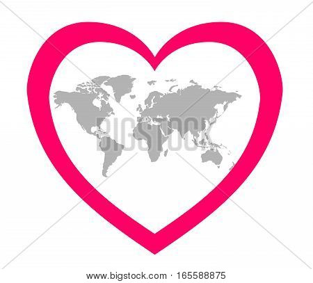 The stylized image of the continents in the center of a pink heart. Card about love and ecology.