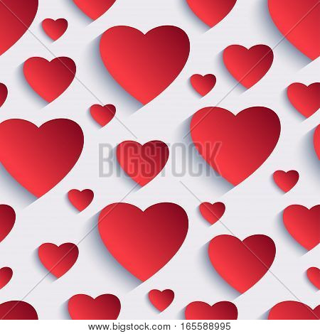 Stylish Valentines day background seamless pattern with red 3d hearts cutting paper. Beautiful abstract modern wallpaper. Romantic love card. Vector illustration.