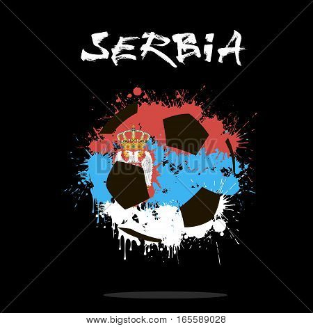 Abstract soccer ball painted in the colors of the Serbia flag. Vector illustration