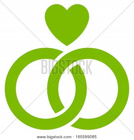 Wedding Rings With Heart vector icon. Flat eco green symbol. Pictogram is isolated on a white background. Designed for web and software interfaces.
