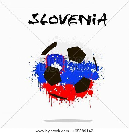 Abstract soccer ball painted in the colors of the Slovenia flag. Vector illustration