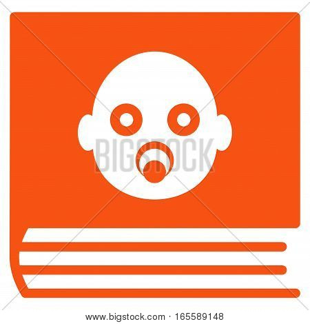 Baby Album vector icon. Flat orange symbol. Pictogram is isolated on a white background. Designed for web and software interfaces.