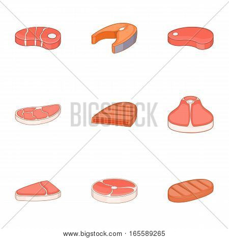 Meat steak icons set. Cartoon illustration of 9 meat steak vector icons for web