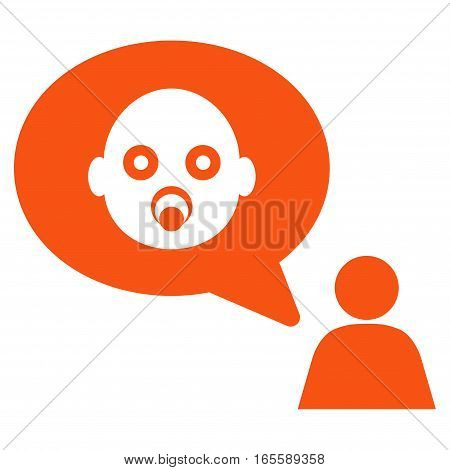Baby Thinking Person vector icon. Flat orange symbol. Pictogram is isolated on a white background. Designed for web and software interfaces.