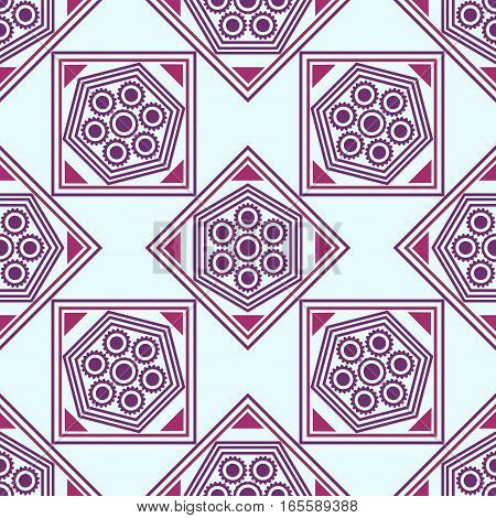 Seamless geometric pattern, pink,maroon, purple rhombus and a square with a flower on a blue background, vector illustration