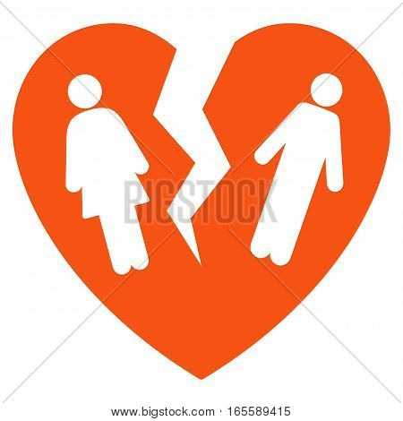 Broken Family Heart vector icon. Flat orange symbol. Pictogram is isolated on a white background. Designed for web and software interfaces.