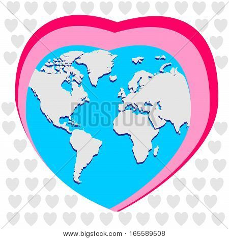 Earth in the form of heart. Vector greeting card with hearts for Valentine's Day. Love rules the World.